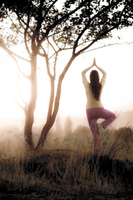 yoga lady with tree - sepia